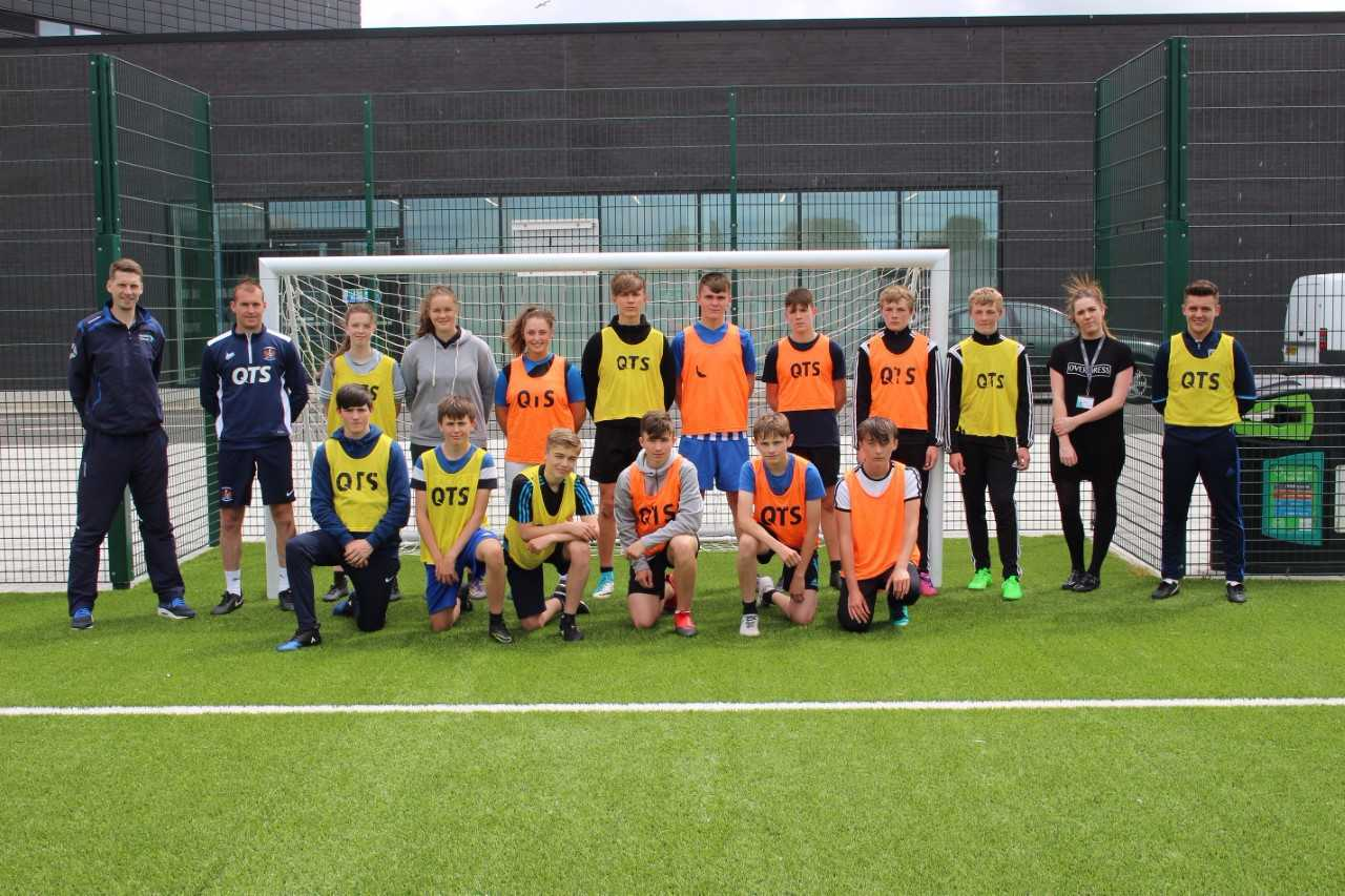 COACHING CLASS: Pictured at Ayrshire College are footballers and coaches.