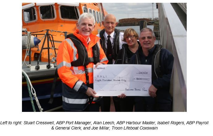 MAJOR SUPPORT: Pictured (from left) are Stuart Cresswell, ABP Port Manager, Alan Leech, ABP Harbour Master, Isabell Rogers, ABP Payroll& General Clerk, and Joe Millar, Troon Lifeboat Coxswain.