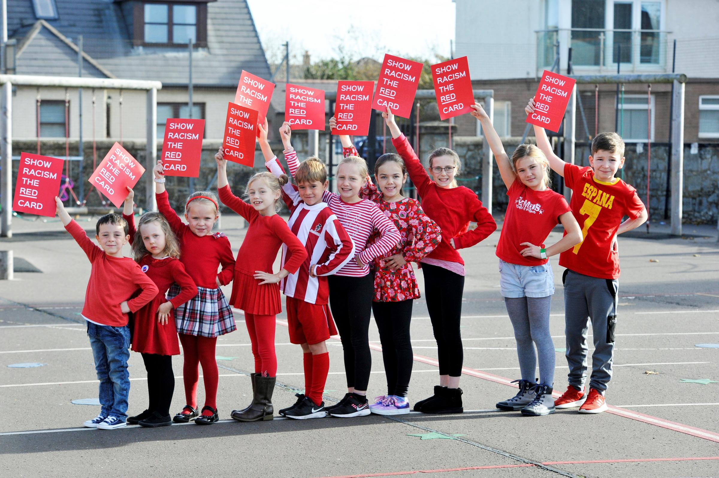 Show racism the red card at St Patricks primary school, Troon..