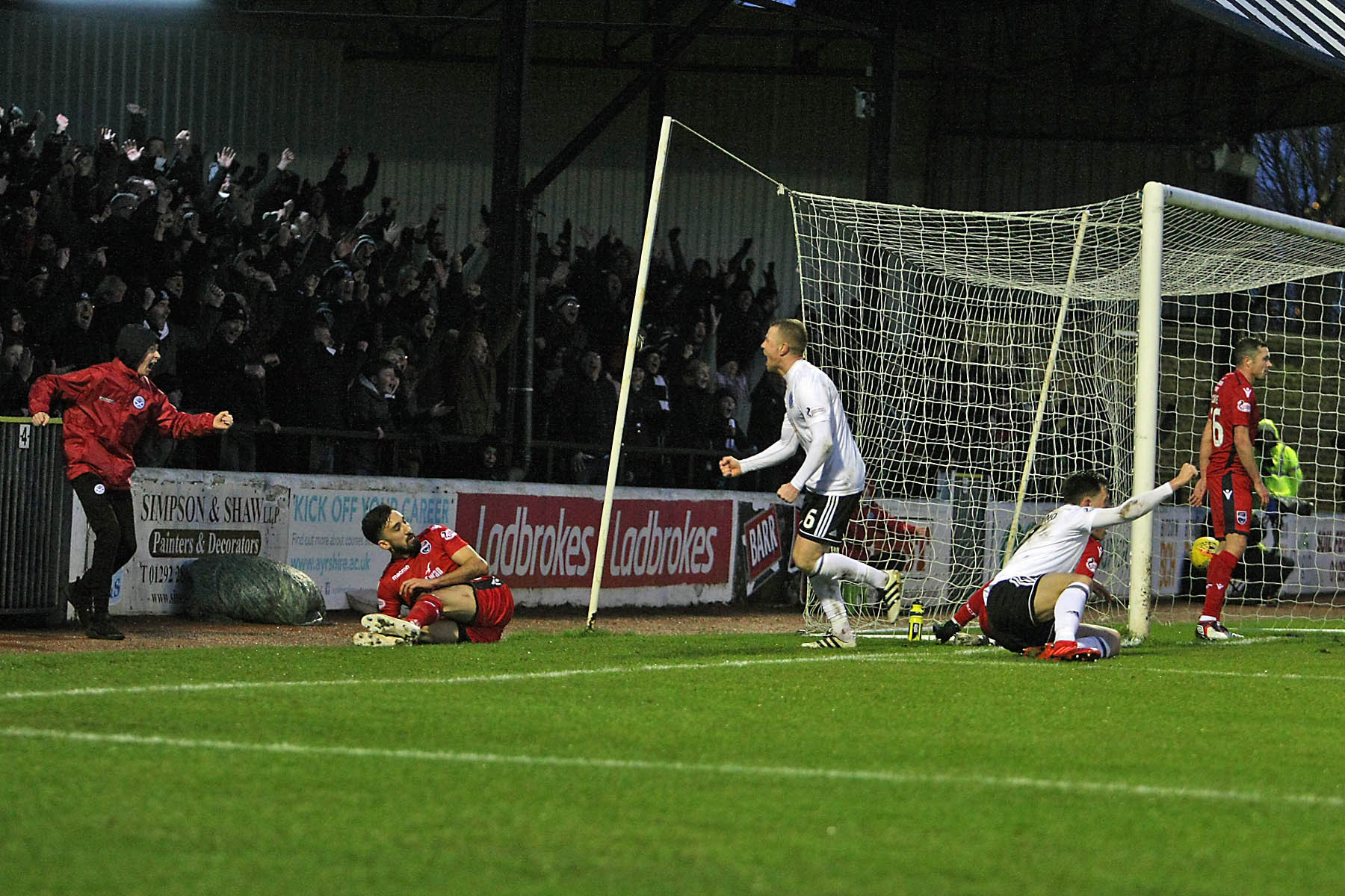 Andy Geggan turns away to celebrate Ayr's third goal. Picture: David Sargent.